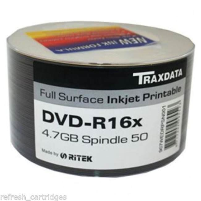 Traxdata Full Face Printable 16x Dvd-r 4.7gb - 50 Discs