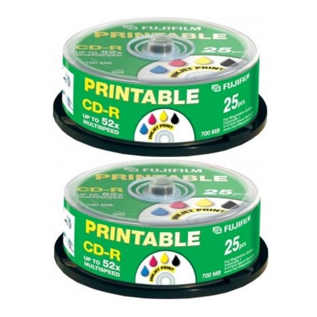 Fujifilm 52x Cd-r 700mb Full Face Inkjet Printable - 50 Discs