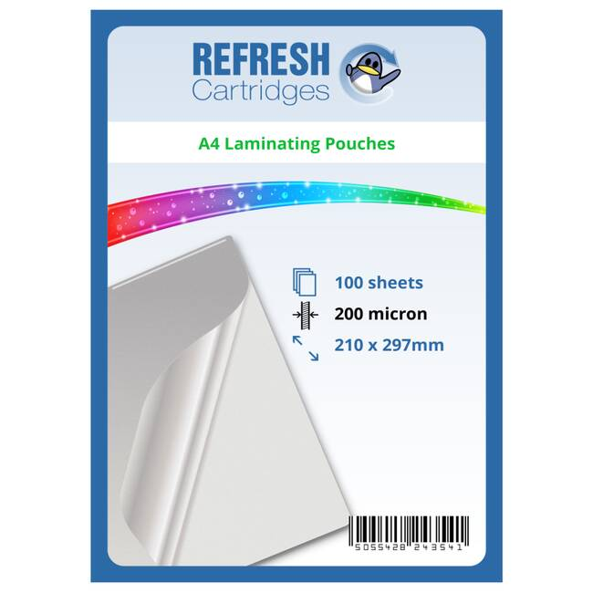 Laminating Pouches A4 200 Micron Pack Of 100 Sheets