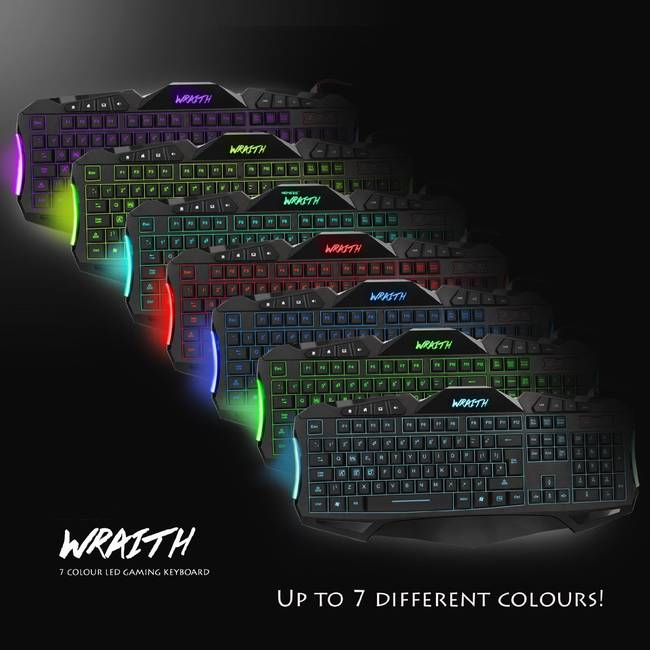 Sumvision Wraith 7 Colour Backlit Led Wired Usb Gaming Keyboard (kbm-gaming-wraith)