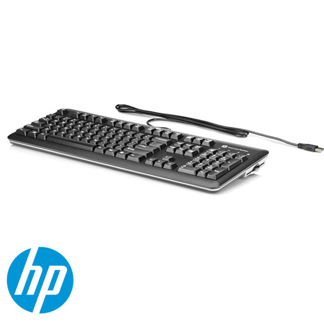 Hp Standard Uk Wired Pc Computer Keyboard With Smart Card Ccid Reader (e6d77at#abu)