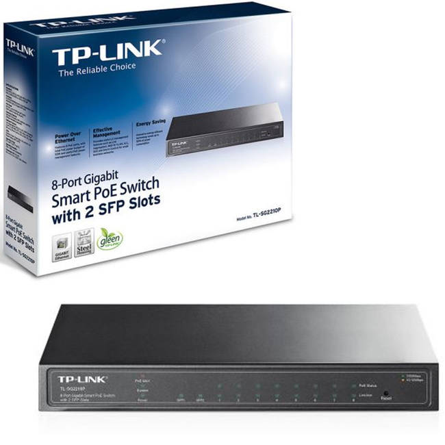 Tp-link (tl-sg2210p) 8 Port Gigabit Poe Smart Switch / 2 X Sfp Ports / Steel Case