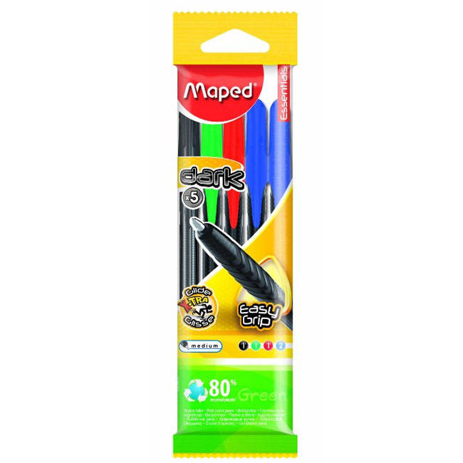 Maped 5 Colour Pack Easy Grip / Easy Glide Ball Point Pens - (225405105)