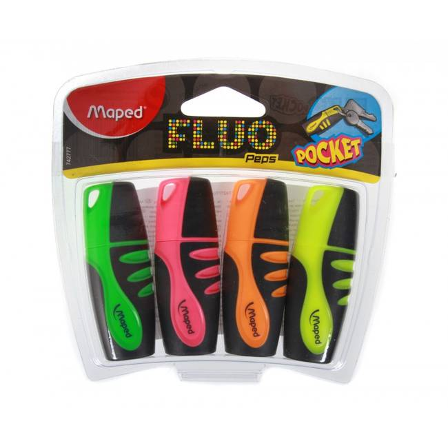 Maped Fluo Peps Pocket Colour Highlighter Pens - 4 Pack - (742777182)
