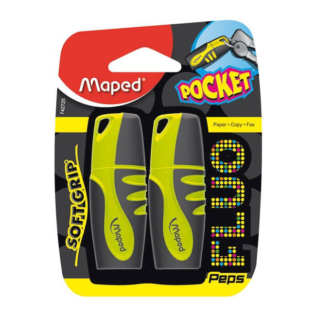 Maped Fluo Peps Pocket Yellow Highlighter Pens - 2 Pack - (742725105)