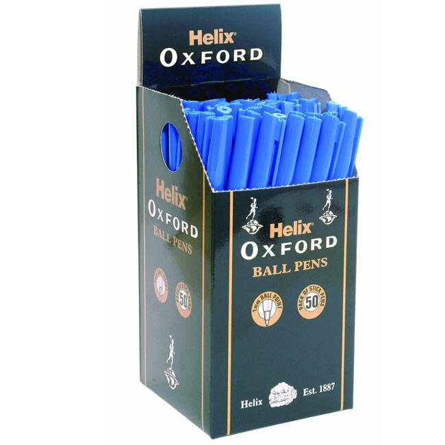 Helix Oxford Ball Point Pens - Box Of 50 - Blue (pb1025012)