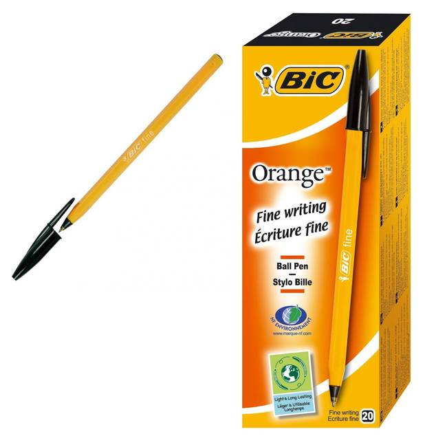 Bic Orange Fine Ball Point Pens - Black Ink - Box Of 20 (1199110114)