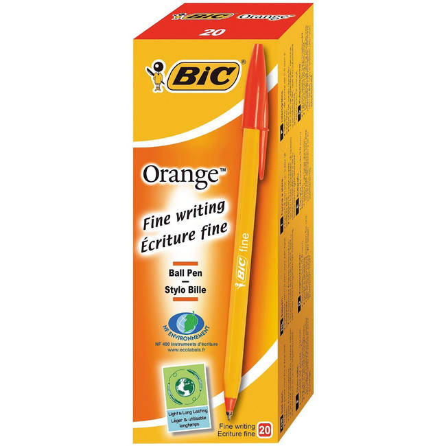 Bic Orange Fine Ball Point Pens - Red Ink - Box Of 20 (1199110112)