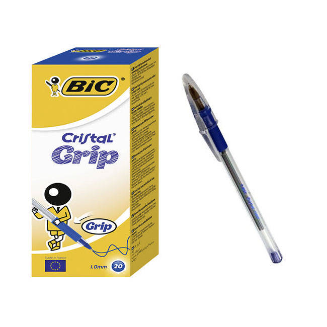 Bic Cristal Grip Ball Point Pens - Blue Ink - Box Of 20 (802801)