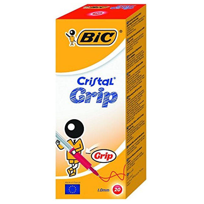 Bic Cristal Grip Ball Point Pens - Red Ink - Box Of 20 (802803)