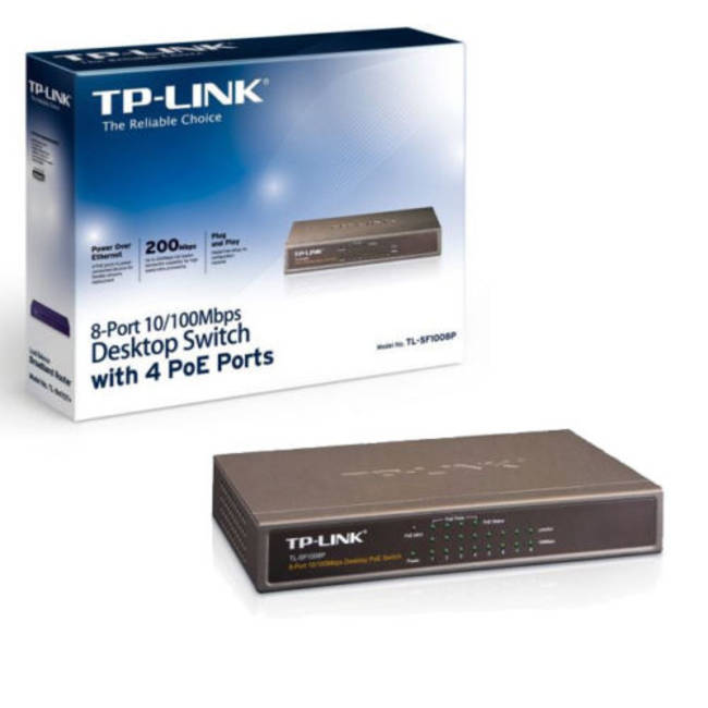 Tp-link (tl-sf1008p) 8 Port 10/100mbps Unmanaged Desktop Switch / Steel Case