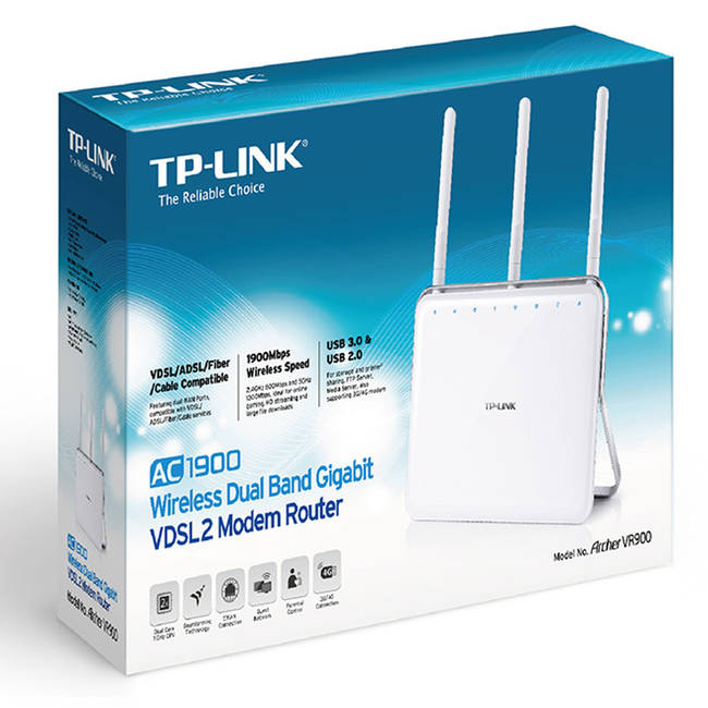 Tp-link Archer Vr900 Ac1900 Wifi Dual Band Router Usb3 Vdsl2 Fibre Cable & 3g/4g