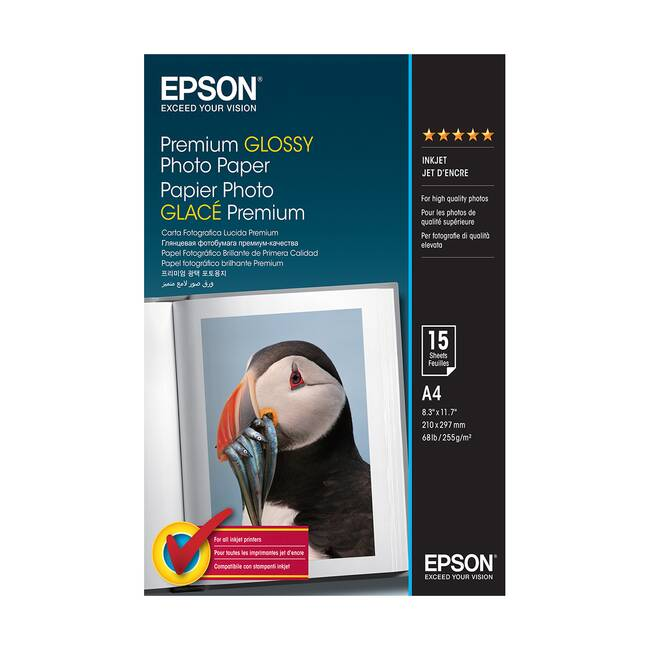 Original Epson A4 Premium Glossy Photo Paper 255gsm - 15 Sheets (c13s042155)