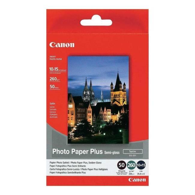 Original Canon Sg-201 10cmx15cm Photo Paper Plus Semi Glossy 260gsm 50 Sheets (1686b015)