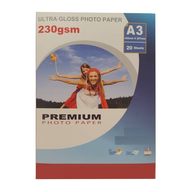 Premium A3 Ultra Gloss Inkjet Photo Paper (230gsm) - 20 Sheets