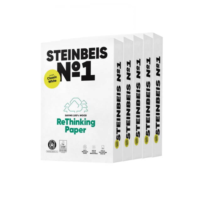 Steinbeis Classic White (off White) 100% Recycled A4 Copier Paper (80gsm) 2500 Sheets (5 Reams)
