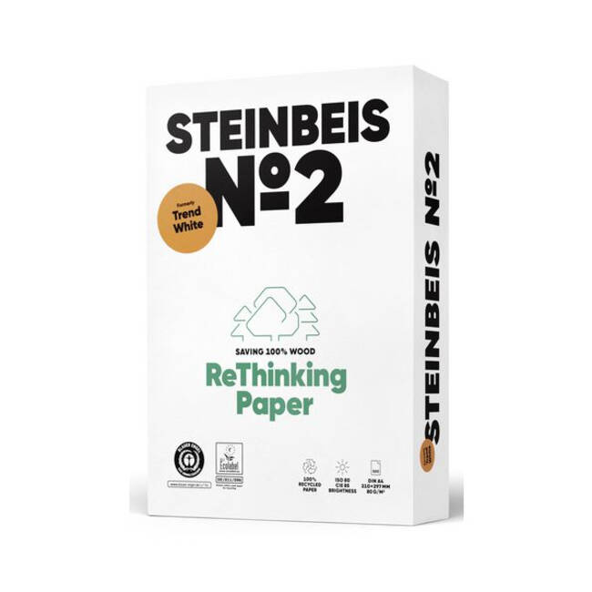 Steinbeis Trend White 100% Recycled A4 Copier Paper (80gsm) - 2500 Sheets (5 Reams)