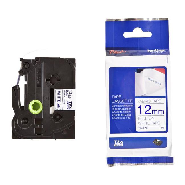 Original Brother Tzefa3 Blue On White 12mm Fabric P-touch Labelling Tape (tzfa3)