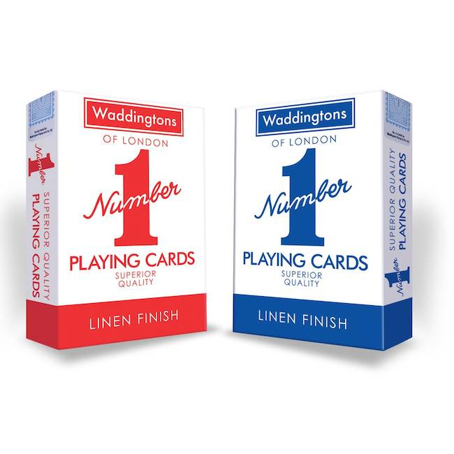 2x Waddington No.1 Playing Cards Quality RED /& BLUE Classic Linen Finish Pack