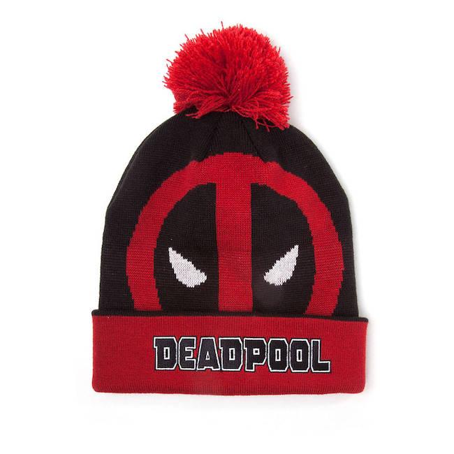 c81326ecbee Marvel Comics Deadpool Face Roll-up Cuffed Beanie with Pompom