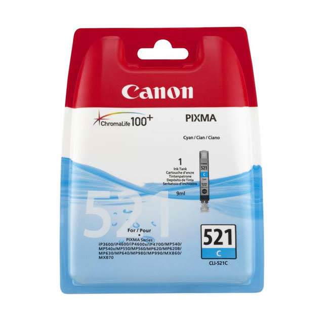 Original Canon Cli-521c Cyan Ink Cartridges (2934b001aa)