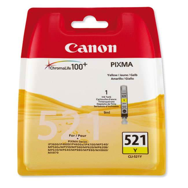 Original Canon Cli-521y Yellow Ink Cartridges (2936b001aa)