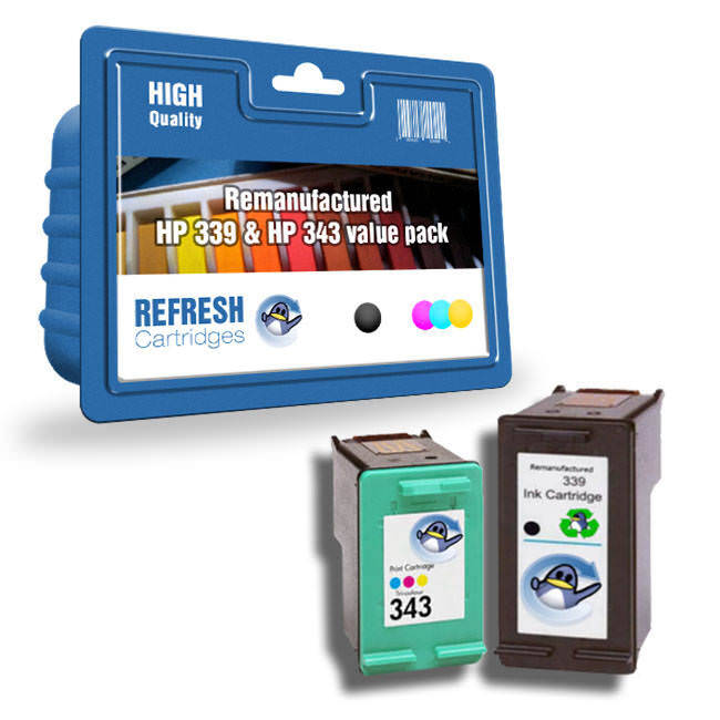 Basic Valuepack Of 2 Remanufactured Hp 339 And Hp 343 Ink Cartridges (c8767ee & C8766ee)