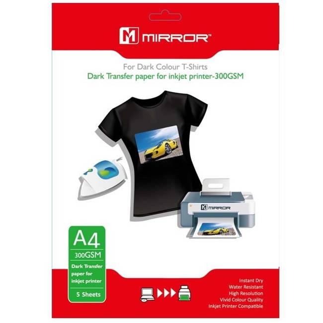 ec9d2599d Mirror Iron On A4 T-Shirt Transfer Paper for Dark T-Shirts 300gsm - 5  SheetsMIR-TSHIRT-A4-DARK-300-5