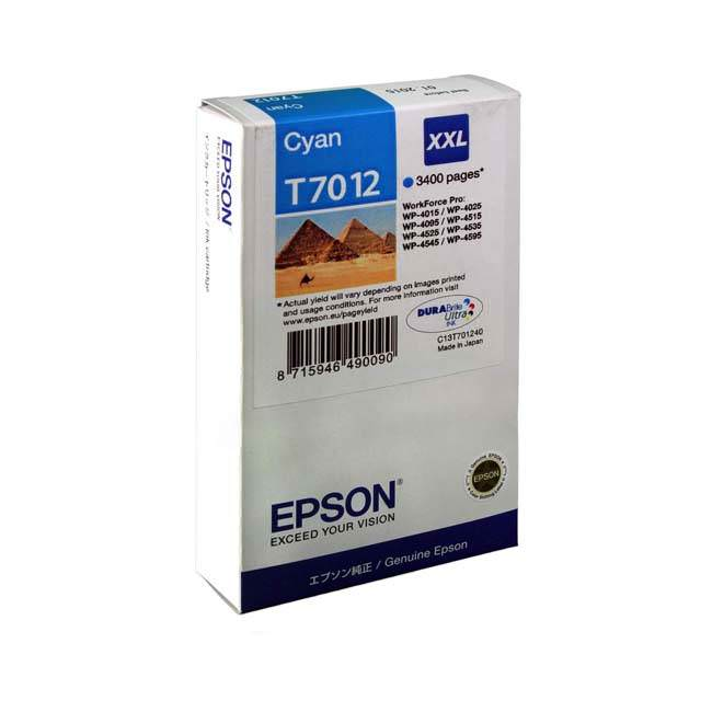 Original Epson T7012 Extra High Capacity Cyan Ink Cartridges (c13t70124010)
