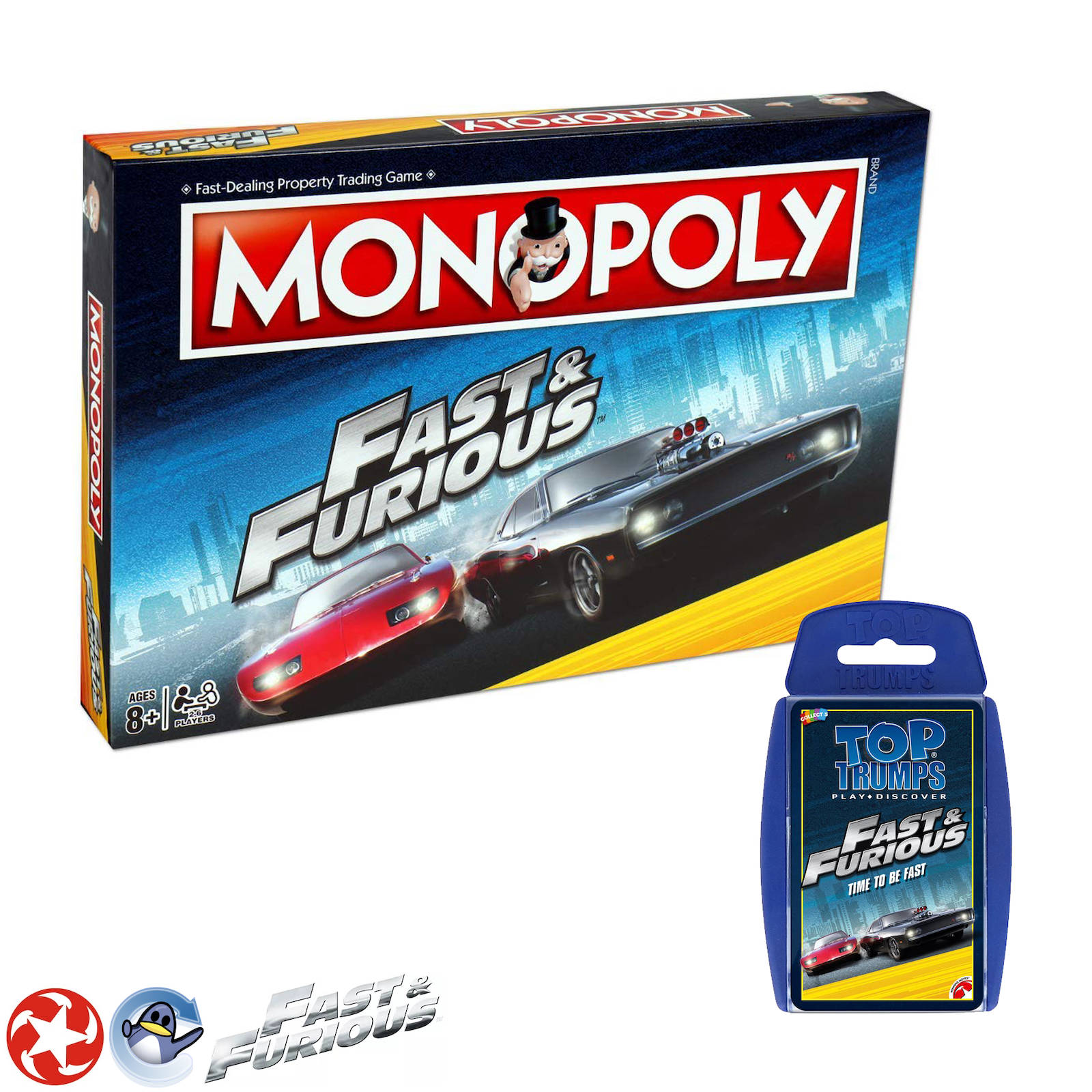 Fast & Furious Movie Game Bundle Monopoly Board Game & Top Trumps Card G