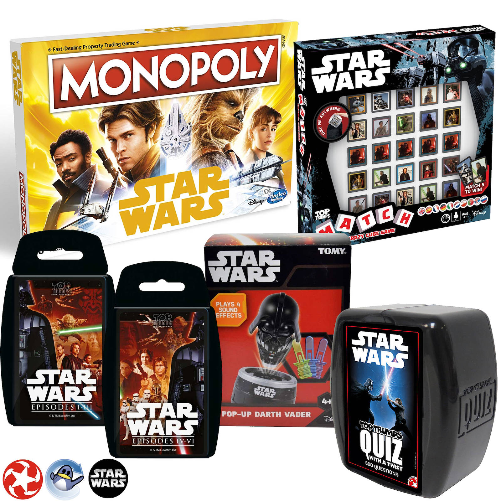 Star Wars Familie 6 Spiel Bündel Monopoly / Top Trümpfe / Tt Quiz / Anpassen /