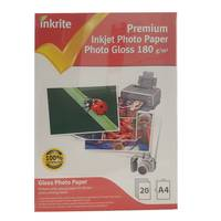 Inkrite Professional Glossy A4 Inkjet Photo Paper 180gsm - 20 Sheets Image