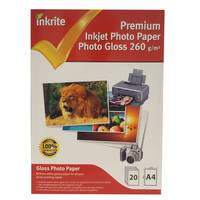 Inkrite Professional Glossy A4 Inkjet Photo Paper 260gsm - 20 Sheets Image