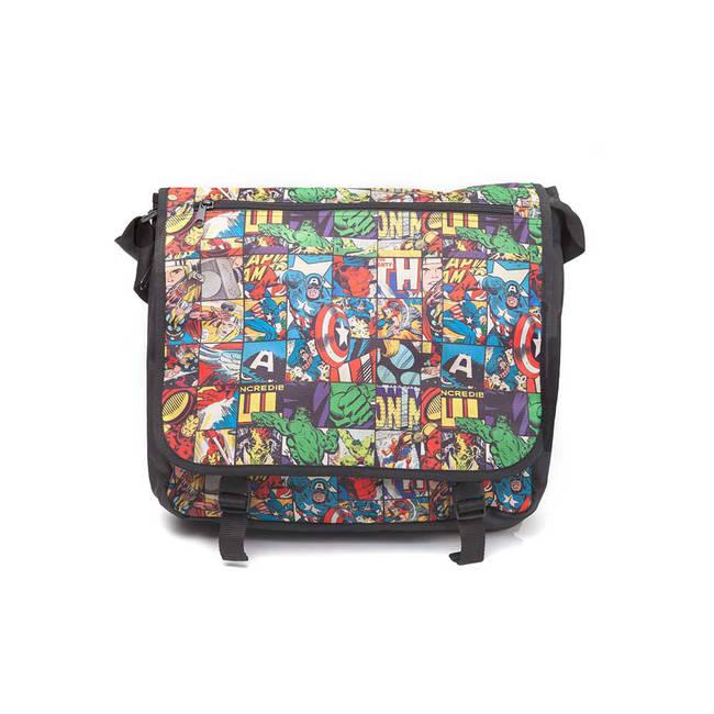 Marvel All-Over Comic Style Messenger Bag Unisex Black MB110906MAR NEW