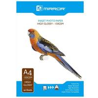 Mirror High Glossy A4 Inkjet Photo Paper 150gsm - 50 Sheets Image