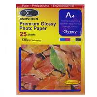 Sumvision Glossy Adhesive A4 Inkjet Photo Paper 135gsm - 25 Sheets Image